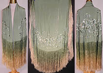 Antique Vintage Mint Green Silk Floral Embroidered Fringe Round Piano Shawl