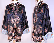 Vintage Chinese Couching Embroidered Ji Luck Phoenix Dragon Robe Jacket