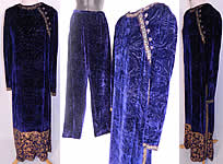 Vintage Oscar de la Renta Painted Voided Velvet Chinese Cheongsam Dress & Pants
