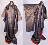 Vintage Antique Japanese Geisha Gold Lamé Silk Brocade Fan Kimono
