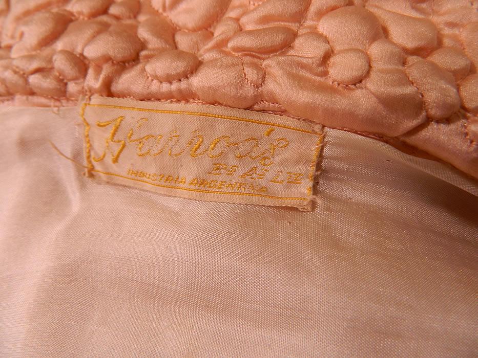 Vintage Harrods Pink Silk Quilted Gold Trim Stitched