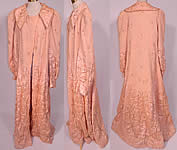 Vintage Harrods Pink Silk Quilted Gold Trim Stitched Peignoir Robe Dressing Gown