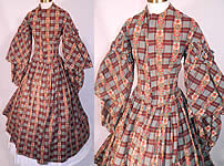 Victorian Civil War Floral Paisley Plaid Print Wool Challis Hoop Skirt Dress