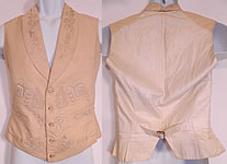 Victorian Gentleman's Cream Wool Embroidered Wedding Waistcoat Vest