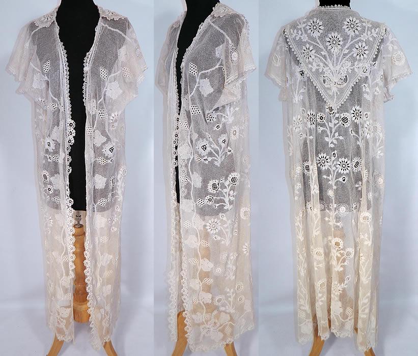 Vintage Edwardian Antique Limerick Lace White Embroidered