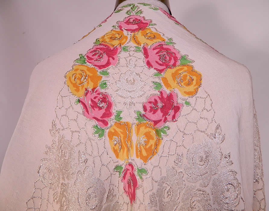 Art Deco Pink & Yellow Floral Roses Silver Lamé White Silk Shawl. This gorgeous Gatsby style square shawl fabric wrap measures 58 by 58 inches.