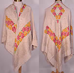 Antique Art Deco Pink & Yellow Floral Roses Silver Lamé White Silk Shawl