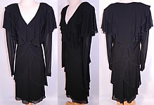 1980s Vintage Holly Harp Hippie Layered Crepe Georgette Black Cocktail Dress