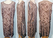 Art Deco Vintage Ecru Silk Burnout Voided Velvet Drop Waist Gatsby Flapper Dress