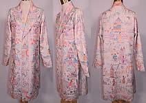 Vintage Antique Chinese Figural Pastel Silk Embroidered Piano Shawl Long Coat Jacket
