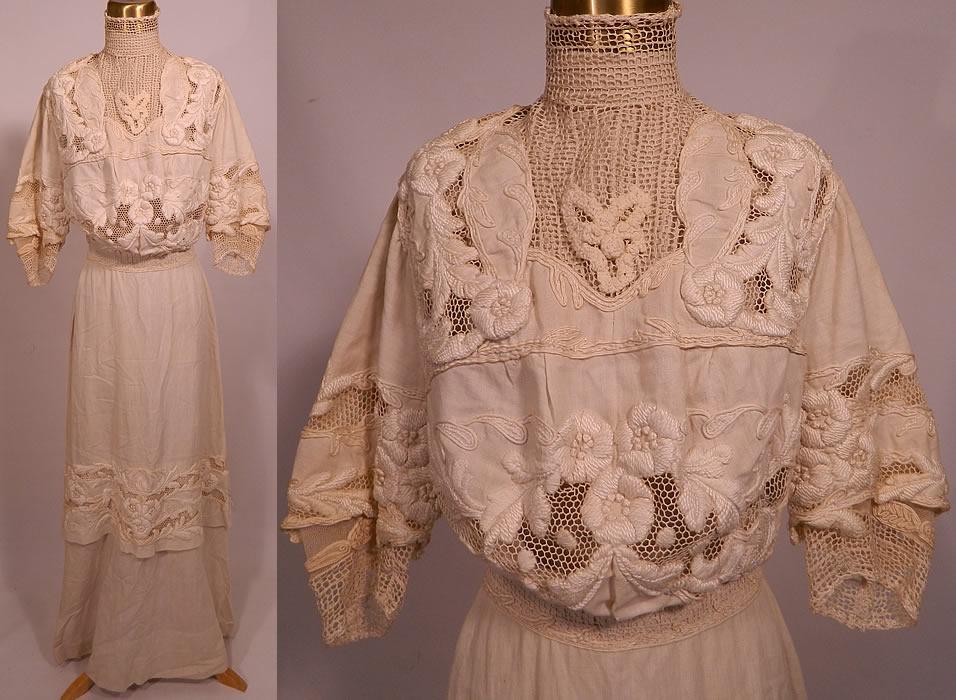 Edwardian high collar cream net embroidered linen lace wedding dress