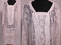 Vintage Antique Normandy Lace White Embroidered Batiste Applique Drop Waist Dress