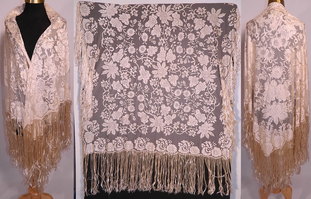 Antique Blonde Silk Net Floral Embroidery Lace Fringe ...