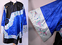 Antique Chinese Royal Blue Silk Brocade Embroidered Butterfly Sleeve Band Robe Coat