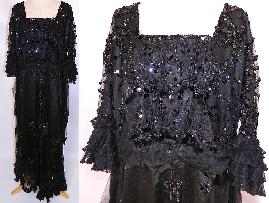 Edwardian Titanic Black Net Jet Beaded Sequined Evening Gown Dress