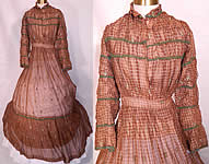 Victorian Civil War Brown & White Plaid Muslin Green Floral Trim Embroidered Dress