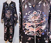 Antique Chinese Dragon Silk Embroidered Opera Robe Coat Sleeve Band Cuffs
