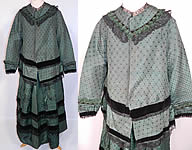 Victorian Civil War Era Green Silk Brocade Black Chantilly Lace Maternity Dress