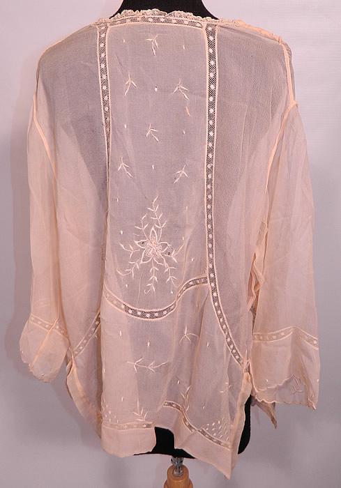 Vintage Peach Pastel Silk Chiffon Embroidered Drawn Work