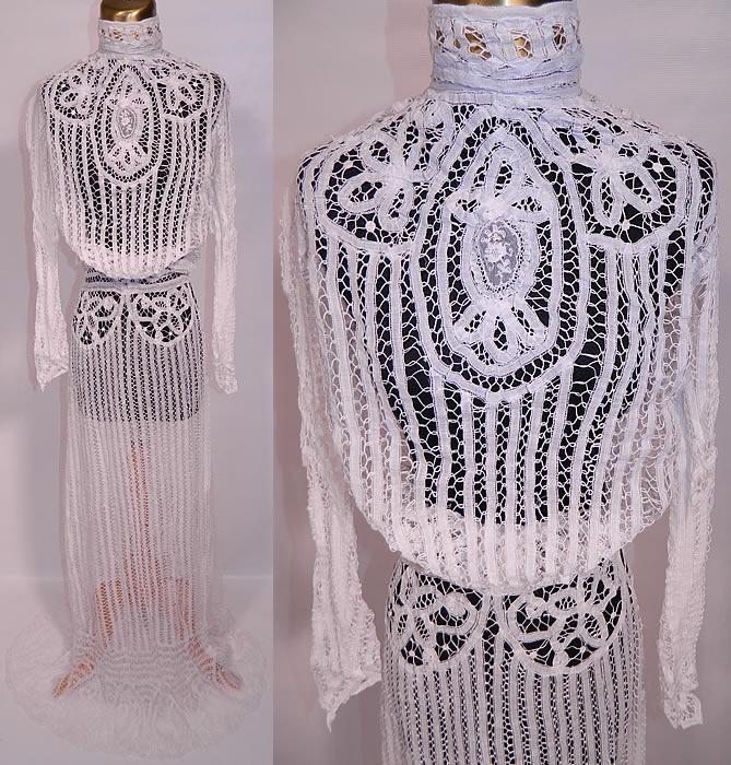 Vintage Victorian Wedding Dresses: Vintage Victorian Antique White Battenburg Tape Lace