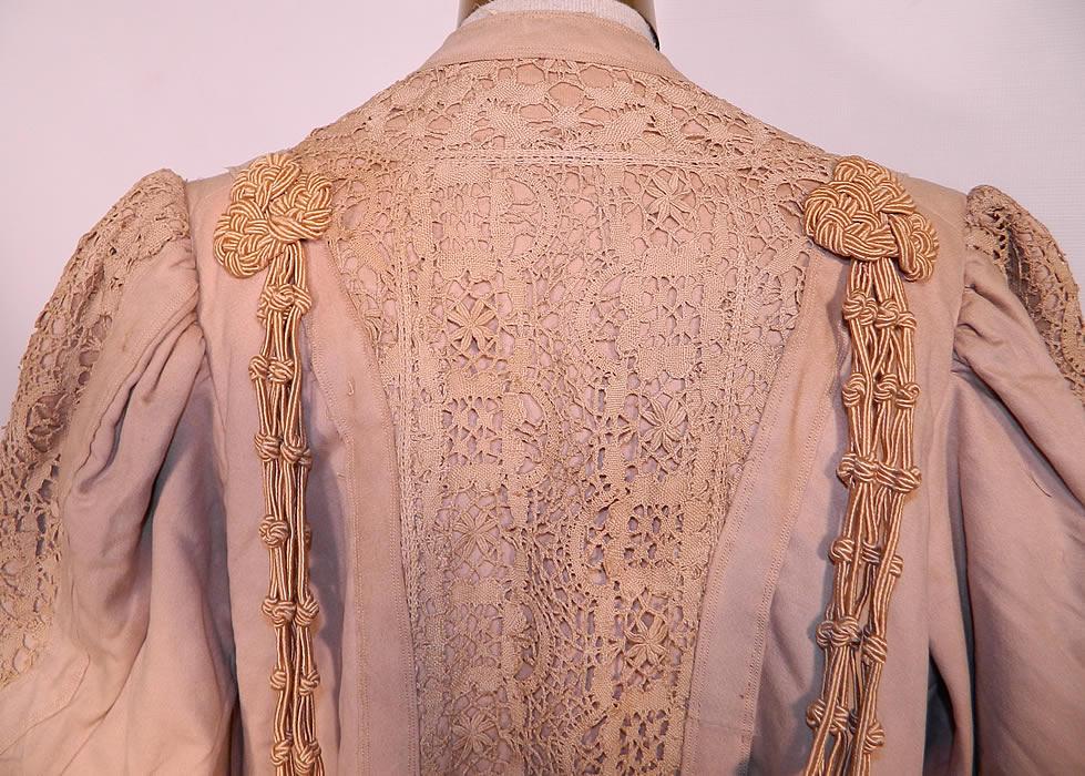Edwardian Ecru Camel Color Wool Lace Tassel Trim Traveling