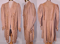 Edwardian Ecru Camel Color Wool Lace Tassel Trim Traveling Coat