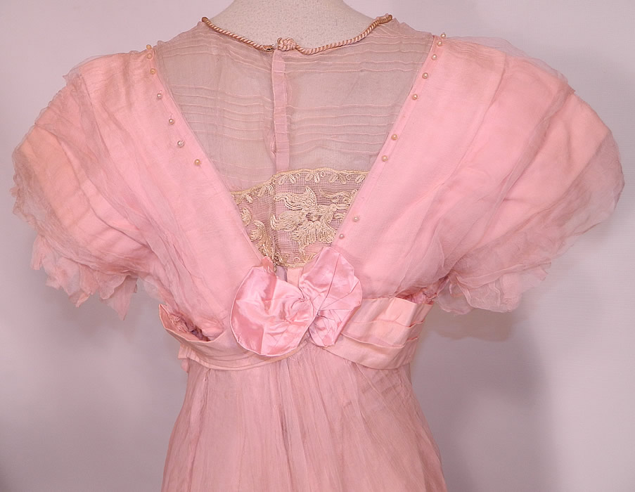 Edwardian Titanic Pink Silk Pearl Beaded Lace Evening Gown