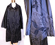 Vintage Art Deco Black Silk Soutache Embroidered Opera Cloak Cape Coat Dress