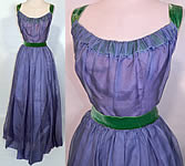 Vintage 1950s Blue Organdy Pink Taffeta Green Velvet Trim Formal Gown Dress