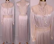 1940s Vintage White Satin Lace Negligee Nightgown & Robe Peignoir Trousseau Set