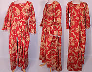 Victorian Red & Gold Carnation Flower Watteau Train Dressing Gown Robe Dress