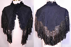 Victorian Black Silk Lace Fringed Mourning Cropped Cloak Cape Capelet