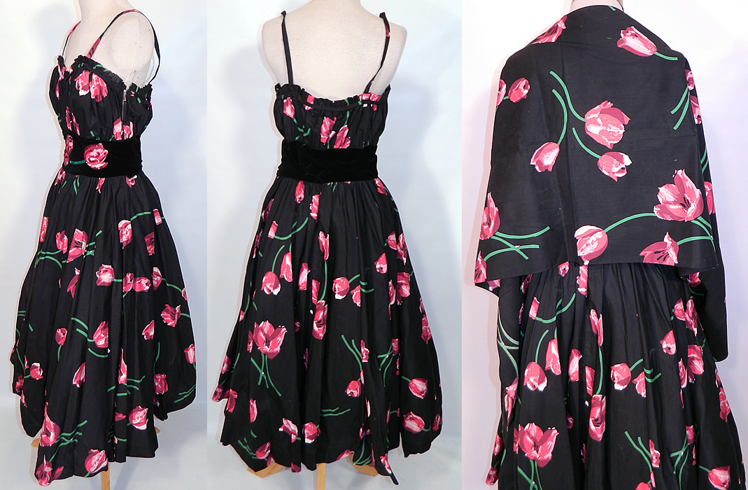 Vintage Black Pink Tulip Cotton Print Sequin Circle Skirt