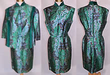 Vintage Costura Ninfa Madrid Emerald Green Lamé Brocade Dress & Coat Jacket