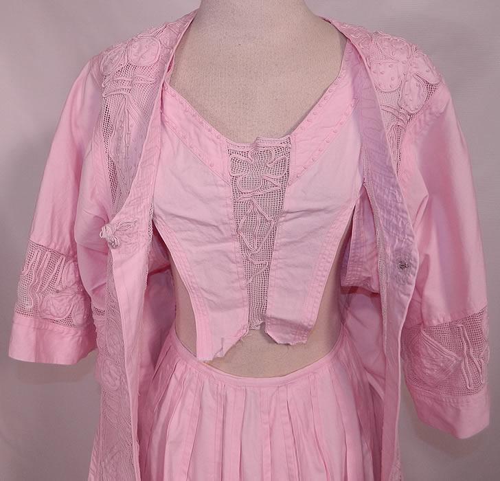 Edwardian Pink Cotton French Knot Soutache Walking Suit