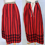 Victorian Vintage Red & Black Striped Plaid Tartan Wool Winter Petticoat Skirt