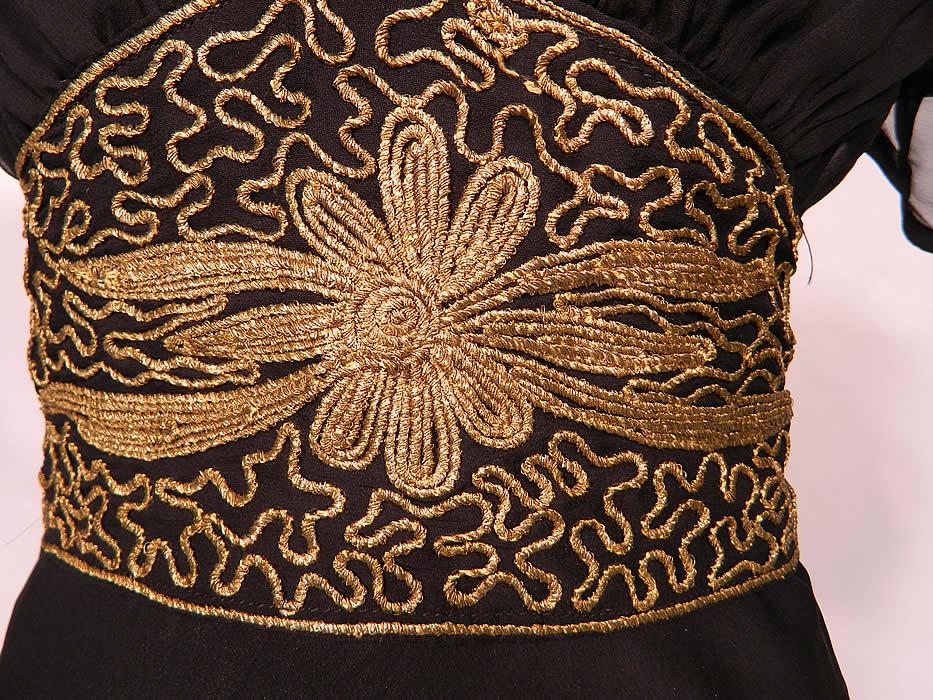 Vintage Black Silk Chiffon Gold Lam 233 Soutache Belted