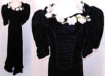 1940s Vintage Black Velvet Pink Roses Flower Trim Evening Gown Dress
