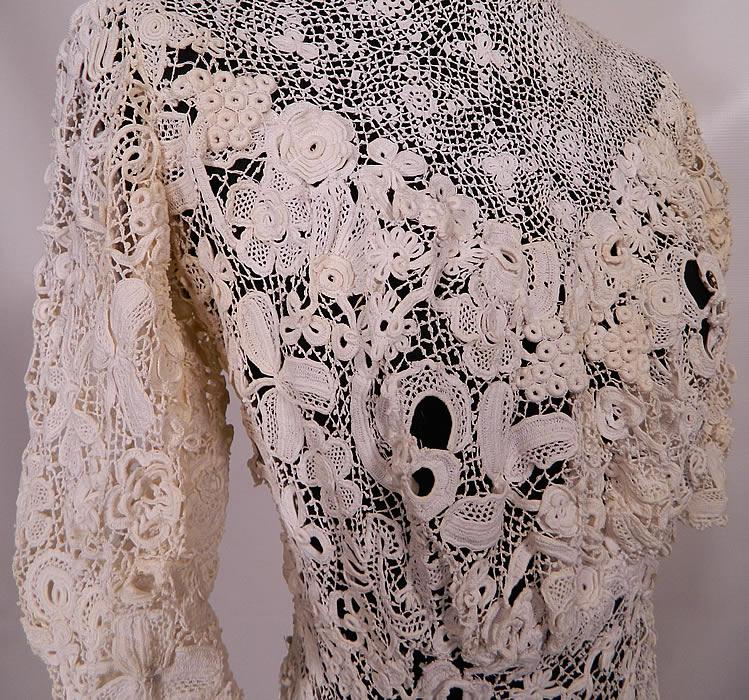 Victorian Antique White Irish Crochet Tape Lace Wedding