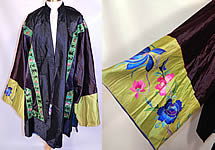 Antique Chinese Silk Embroidered Peony Lotus Flower Sleeve Band Cuff Robe Coat