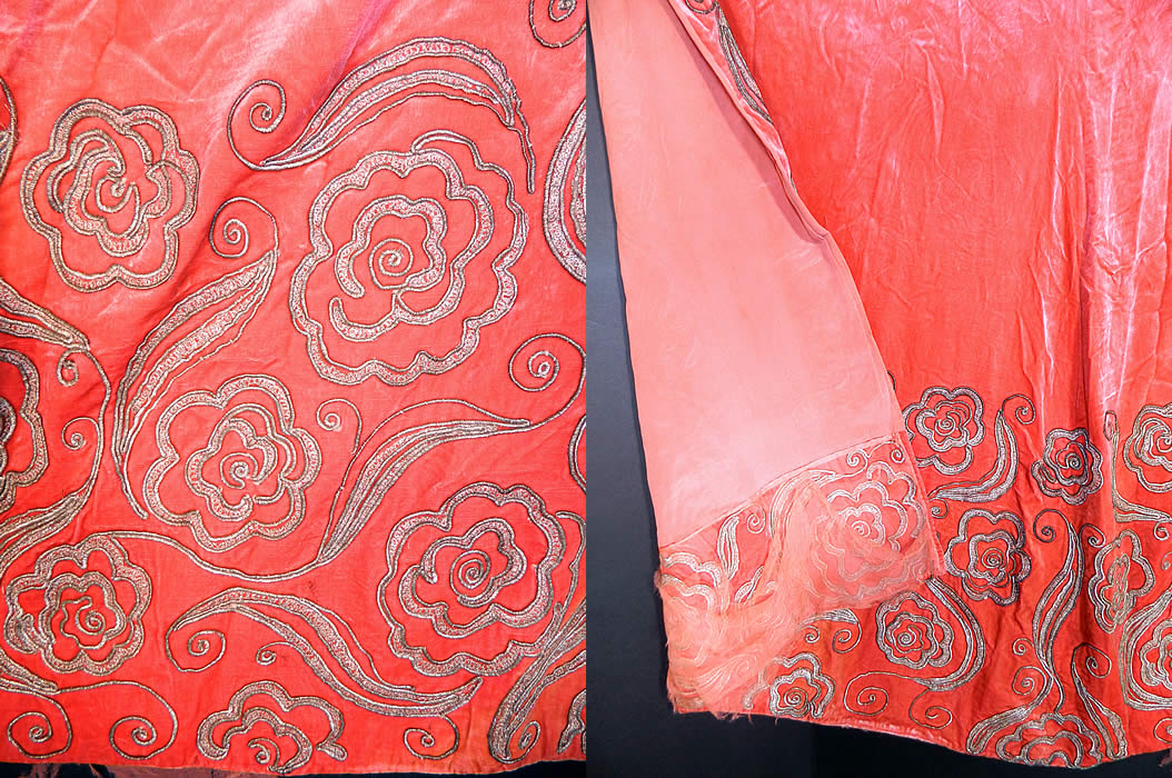Vintage Coral Pink Velvet Gold Lamé Soutache Work Fabric Flapper Cloak Cape.  The fabric measures 42 inches long, 70 inches wide hips, with a 7 1/2 inch hem. It is in good condition, with only some fraying along the chiffon lining the bottom back and needs a new neckline collar sewn into it.