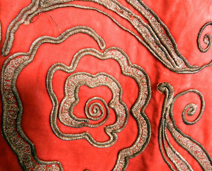 Vintage Coral Pink Velvet Gold Lamé Soutache Work Fabric Flapper Cloak Cape. This is truly a rare and exceptional quality made piece of Art Deco wearable art which would be great for design and reworked into something special!