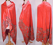 Vintage Coral Pink Velvet Gold Lamé Soutache Work Fabric Flapper Cloak Cape