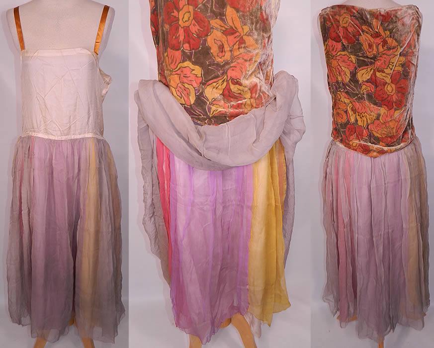 Vintage Peggy Paige New York Label Colorful Silk Chiffon