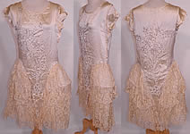 Vintage Robe de Style Cream Silk Rhinestone Beaded Lace Pannier Hoop Wedding Dress