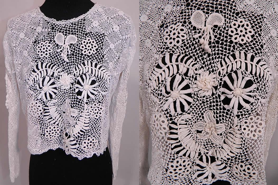 Antique Edwardian White Crochet Lace Blouse Shirtwaist ...
