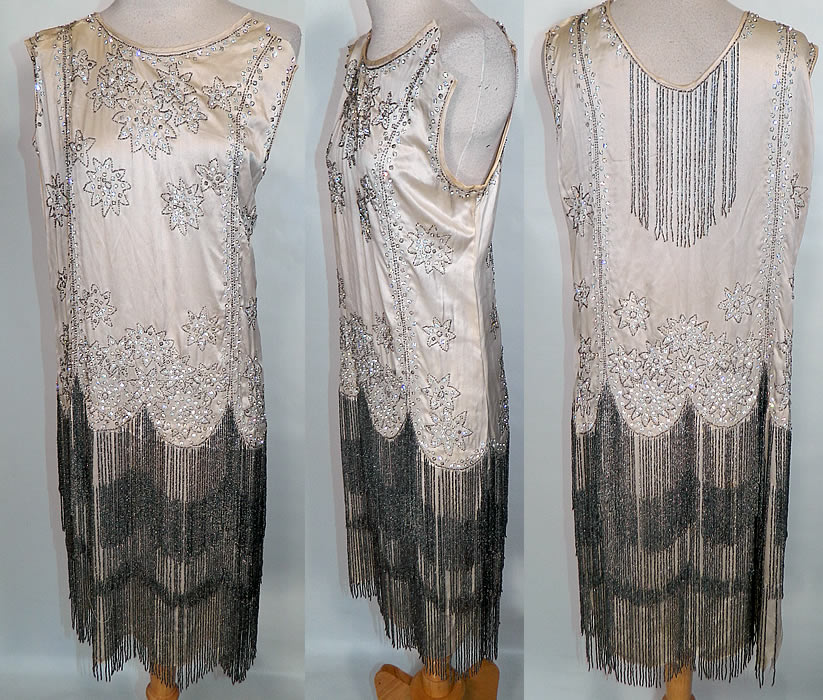 Vintage White Silk Rhinestone Silver Beaded Fringe Flapper Drop ...