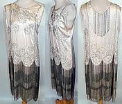 Gatsby Vintage White Silk Rhinestone Silver Beaded Fringe Flapper Drop Waist Dress