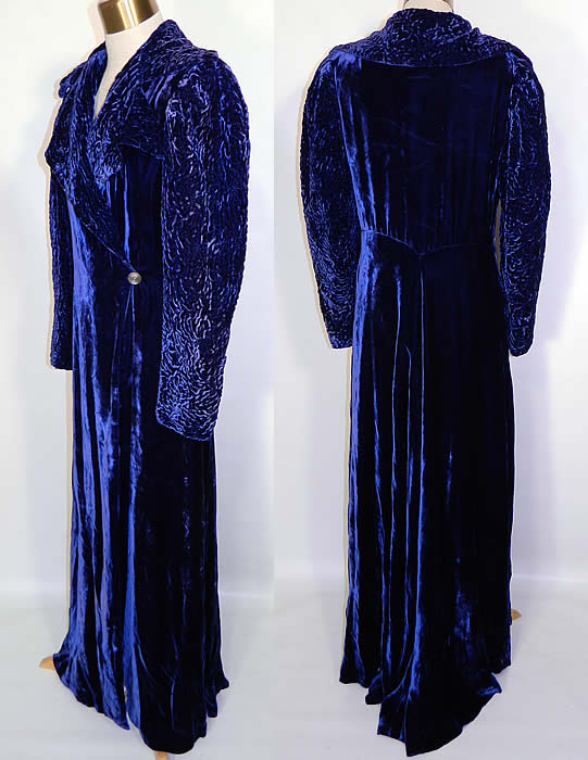 Vintage Royal Blue Silk Velvet Quilted Long Floor Length Evening Opera Coat. The coat measures 58 inches long, with 40 inch hips, a 28 inch waist, 36 inch bust, 14 inch back and 24 inch long sleeves. It is in good condition. This is truly a wonderful piece of wearable art!