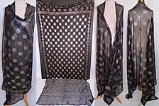 Vintage Art Deco Egyptian Assuit Black Net Silver Shawl Scarf Large Size 105x50